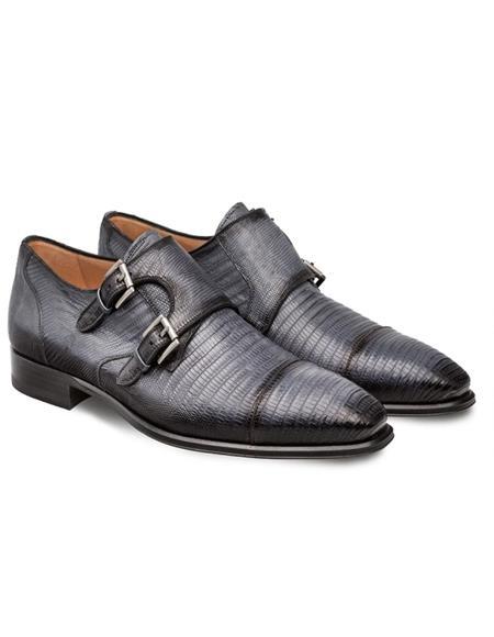 Mezlan Argentum Gray Lizard Skin Double Monk Strap Style Shoes