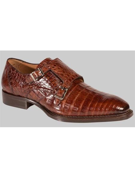 Mezlan Prague Sport Brown Crocodile Skin Modern Double Monk Strap Style Shoes