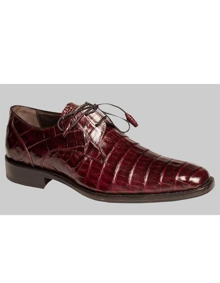 Mezlan Rich Burgundy Crocodile Skin Plain Toe Lace up Shoes