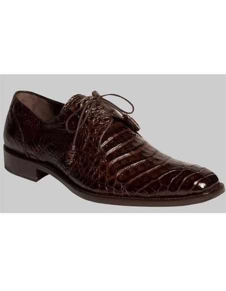 Mezlan Dark Brown Genuine Crocodile Sleek Plain Toe Style Shoes