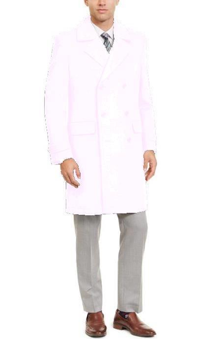 Style# Manhattan 34 Inch Double Breasted Mens Overcoat - Mens Topcoat
