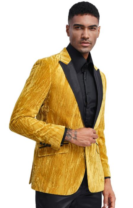 Men's Gold Tuxedo Jacket with Fancy Velvet Feel Pattern - Blazer - Prom - Wedding