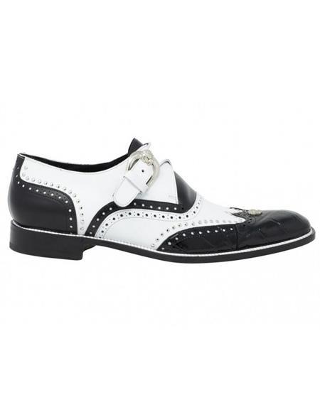 Mauri Alligator Shoes Italian Calfskin Leather Shoe Black ~ White