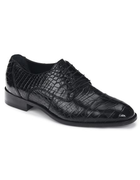 Mauri Alligator Shoes Exotic Skin Black Shoes