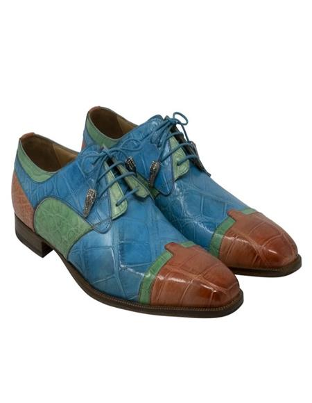 Mauri Alligator Leather Blue, Green and Salmon Shoes