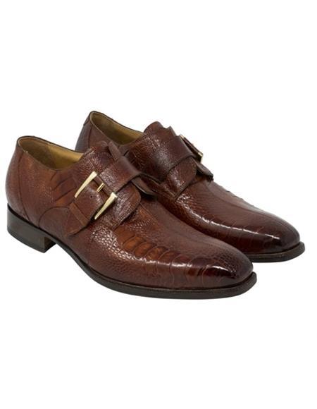 Mauri Cognac Gold Ostrich Leg Skin Shoes