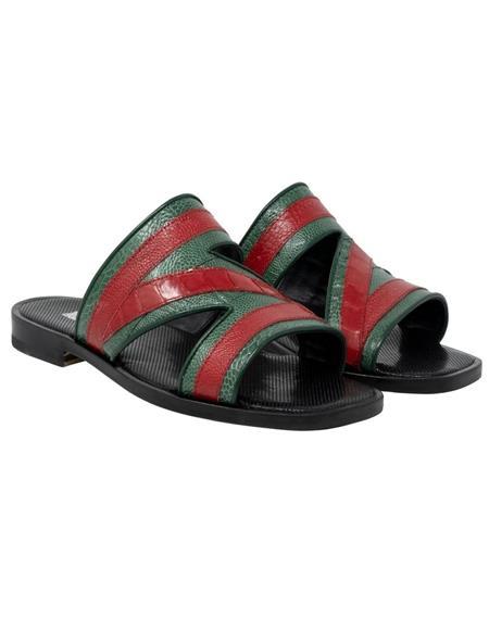 Mauri Green ~ Red Italian Ostrich Sandals
