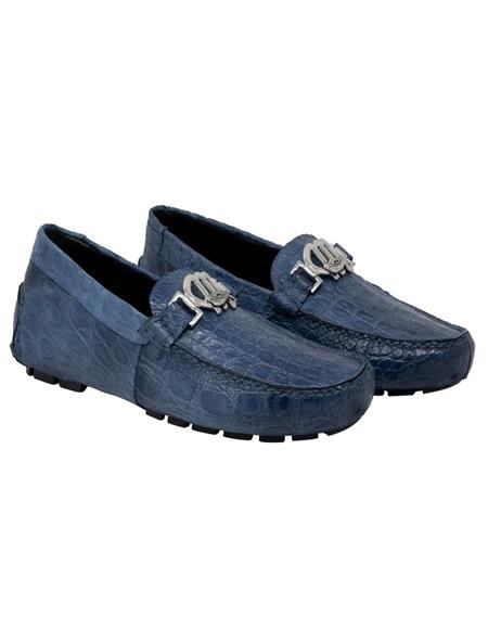 Mauri Shoe Fully Leather Line Blue Shoes