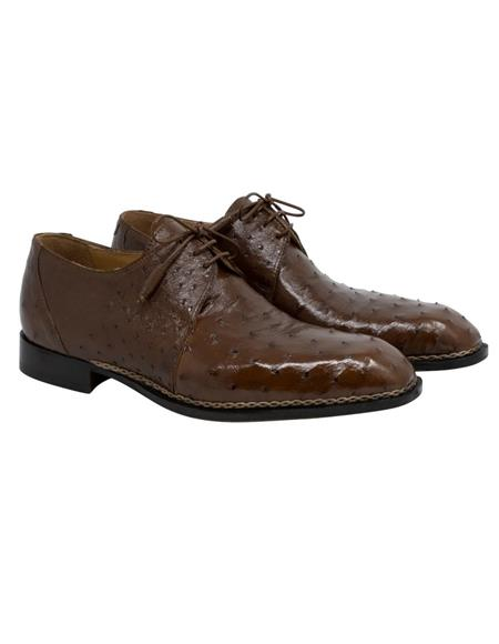 Mauri Shoe Plain Toe Style Ostrich Skin Lace Up Brown Shoes