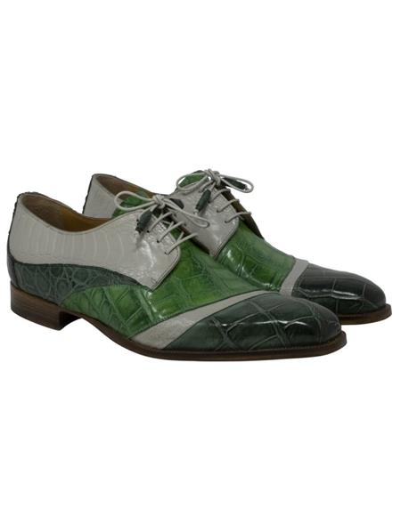 Mauri Alligator Shoe Plain Toe Style Ostrich Skin Crocodile Hunter Green Shoes