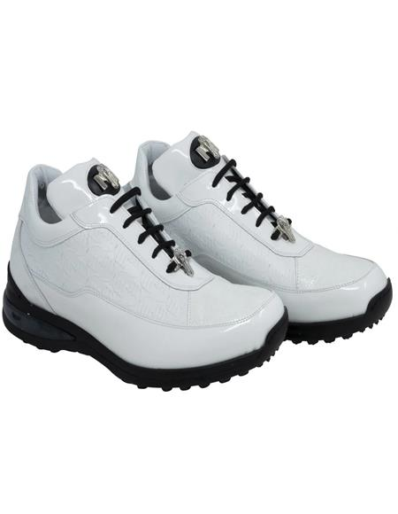 Mauri Casual Ostrich Leg Skin White Shoes
