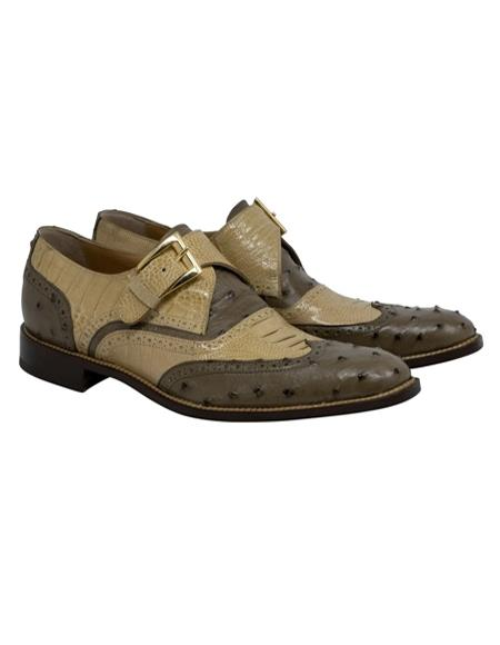 Mauri Ostrich Leg Skin Shoes Brown and Tan