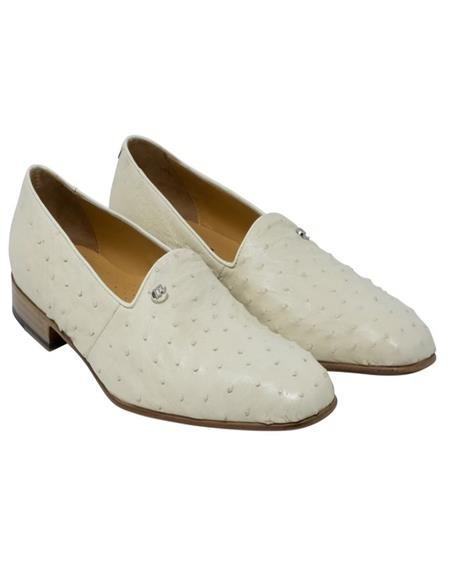 Mauri Ostrich Skin Loafer Shoes White