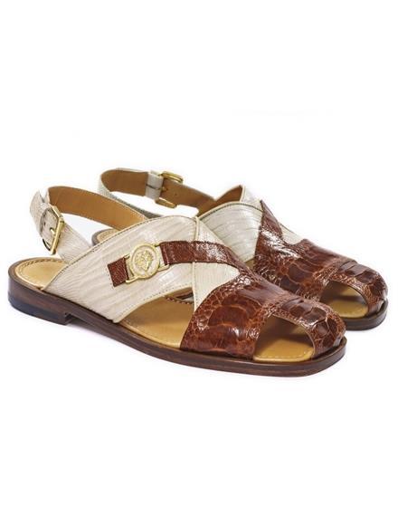 Mauri Ostrich Skin Italian Sandals Gold ~ Tan