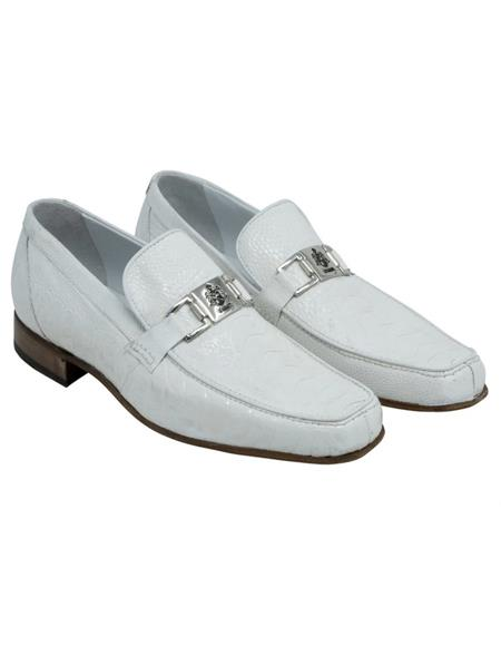 Mauri Ostrich Leg Skin Shoes White