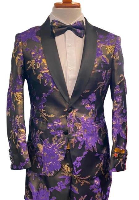 Floral Suits - Paisley Suit - Fashion Suits - Wedding Suit Purple