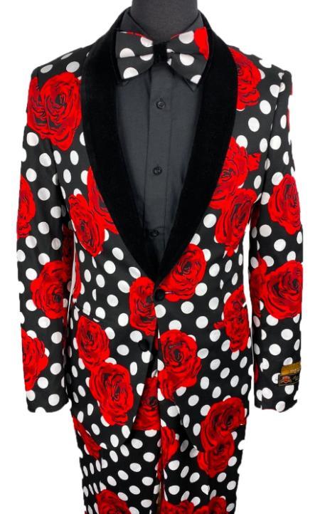 Floral Suits - Paisley Suit - Fashion Suits - Wedding Suit Black and White