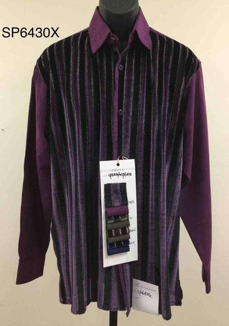 Walking Suit - Leisure Suit - Fashion Long Sleeve Shirt and Pants -  2PC Set Purple