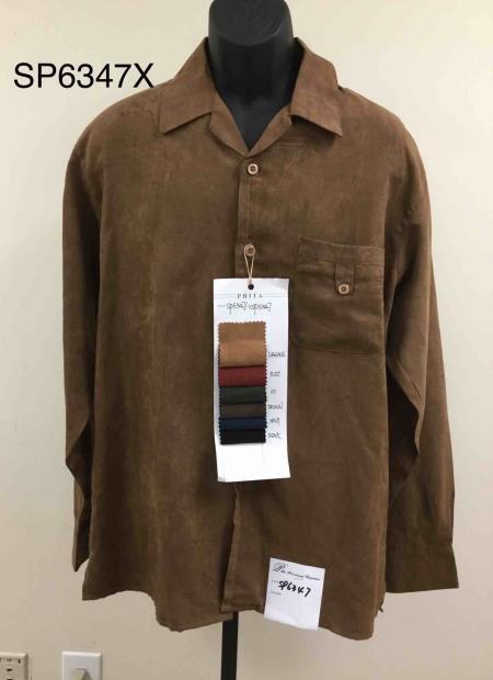 Walking Suit - Leisure Suit - Fashion Long Sleeve Shirt and Pants -  2PC Set Rust