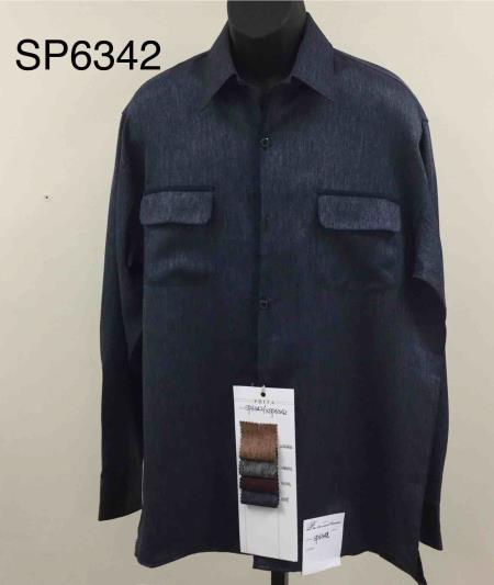 Walking Suit - Leisure Suit - Fashion Long Sleeve Shirt and Pants -  2PC Set Blue