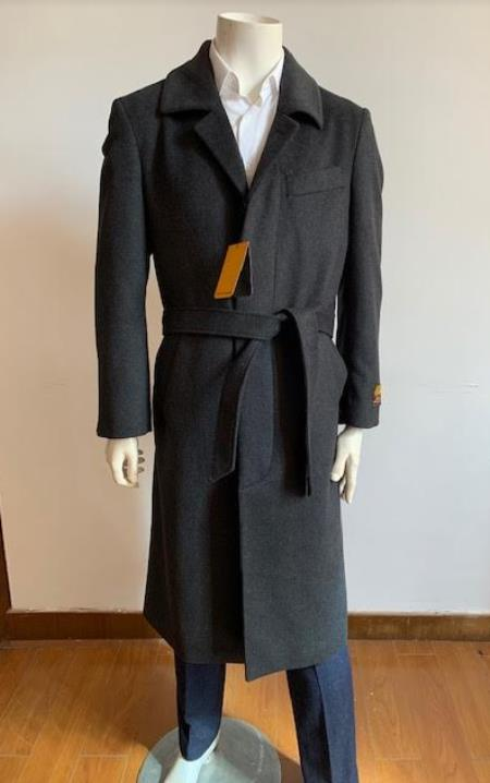 Full Length Overcoat - Wool  Belted Topcoat Black