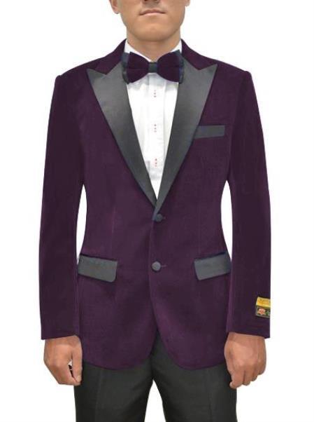 Purple Velvet Blazer - Velvet Tuxedo + Matching Bowtie