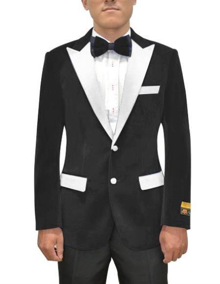 Black and White Lapel Velvet Blazer - Velvet Tuxedo + Matching Bowtie