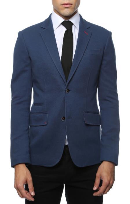 Men's Blue Blazer - Blue Sport Coat  - Casual Slim Fit Blazer