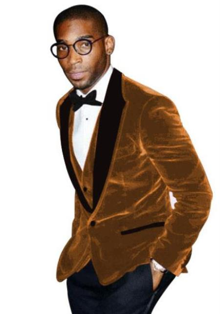 Light Brown Tuxedo - Velvet Fabric Dinner Jacket - Men's Blazer With Matching Bowtie
