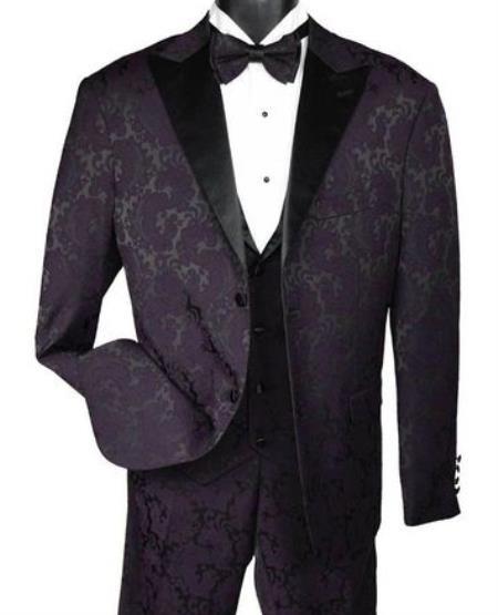 Men's Two Button Paisley Fashion Tuxedo Dark Purple Vest Bow Tie