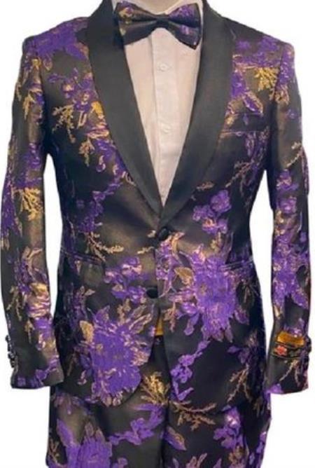 Men's Two Button Floral Prom Tuxedo Slim Fit Purple