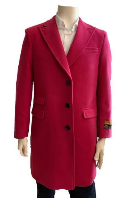 Mens Overcoat - Wool and Cashmere Three Quarter Car coat + Pink By Alberto Nardoni