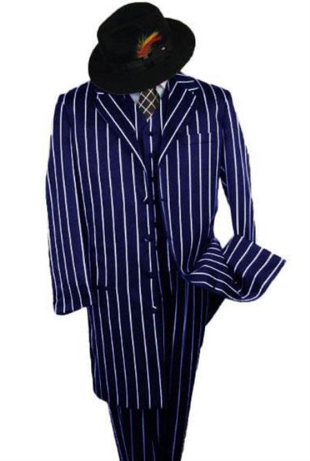 Gangster Suit - Navy Blue Pinstripe 1920s Styles - Long Fashion Zoot Suit + Matching Hat + Shirt And Tie Package