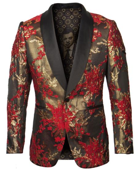 Men's One Button Red and Gold Tuxedo Jacket with Fancy Pattern - Blazer