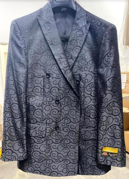 Men's Fancy Paisley Floral Black Men's Double Breasted Suits Jacket Blazer Sport Coat Jacket - Black