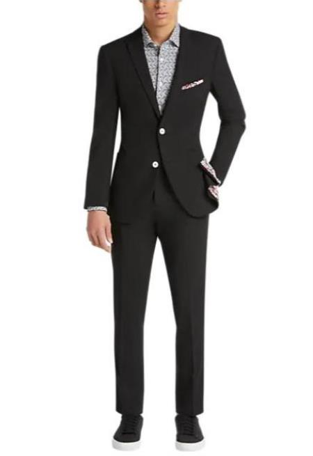 Funeral Suit - Black and White Buttons Suit + Matching Vest