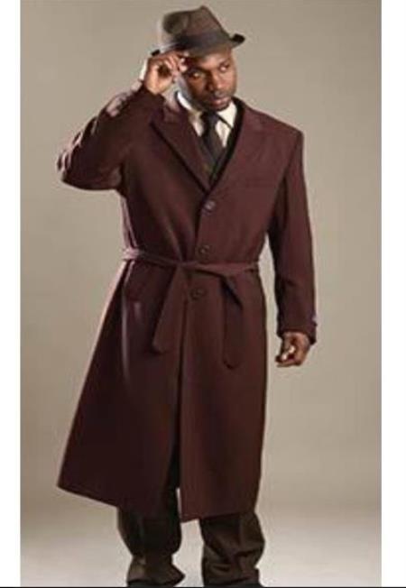 Brown Belted Overcoat - Wool And Cashmere Topcoat - Full Length Men's Coat - Men's Long Coat