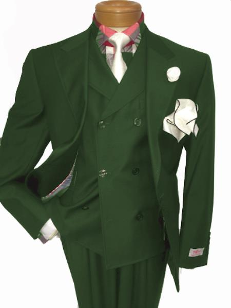 Men's Two Button Single Breasted Notch Lapel Suit Hunter Green