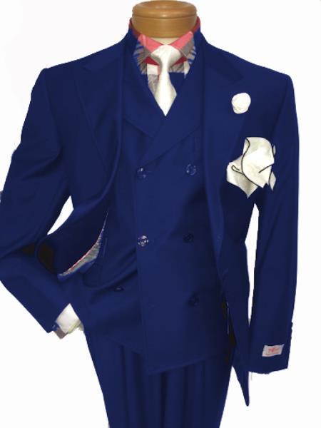 Men's Two Button Single Breasted Notch Lapel Suit Royal Blue