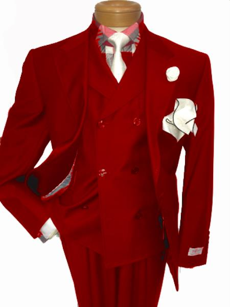 Men's Two Button Single Breasted Notch Lapel Suit Red