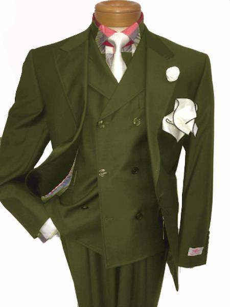 Mens Two Button Single Breasted Notch Lapel Suit Olive Green