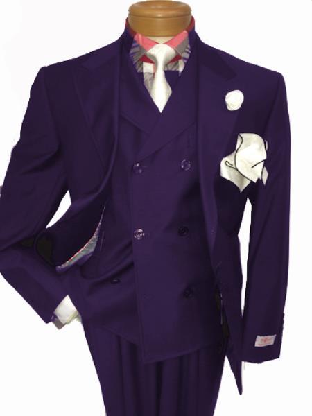 Men's Two Button Single Breasted Notch Lapel Suit Eggplant