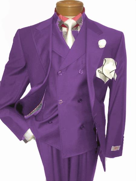 Mens Two Button Single Breasted Notch Lapel Suit Purple