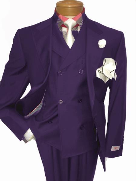 Men's Two Button Single Breasted Notch Lapel Suit Plum