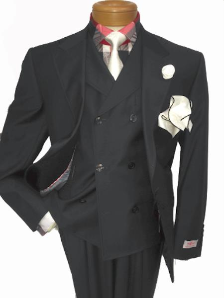 Mens Two Button Single Breasted Notch Lapel Suit Charcoal Grey
