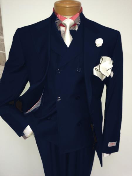 Men's Two Button Single Breasted Notch Lapel Suit Navy Blue