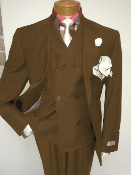 Men's Two Button Single Breasted Notch Lapel Suit Tan