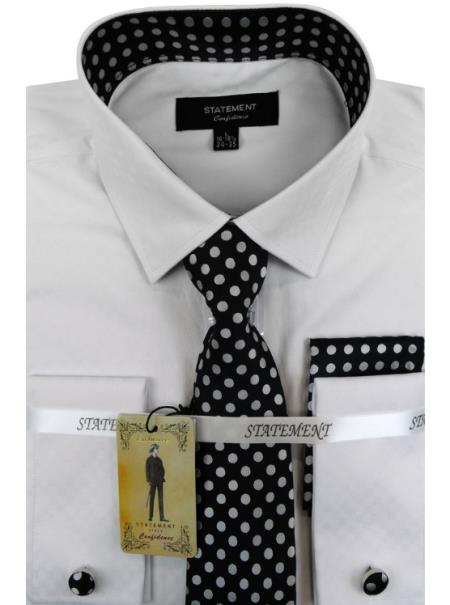 Mens White - Black Dress Shirts with Tie and Cuff Link Set