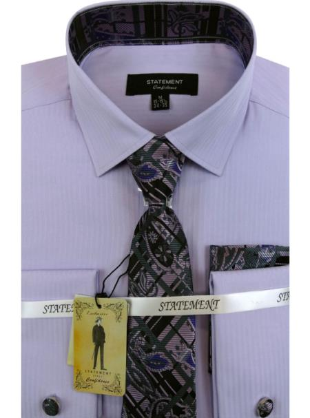 Men's Lavender Dress Shirts with Tie and Cuff Link Set