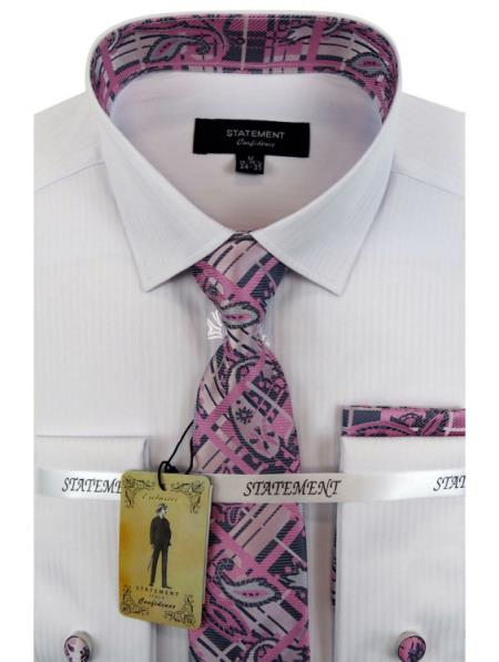 Men's White ~ Pink Dress Shirts with Tie and Cuff Link Set